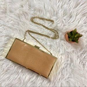 Brand new Gold boxy clutch bag